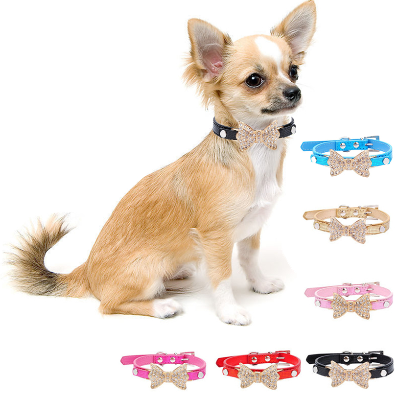 1 PC Dog Collar Bling Crystal Bowknot PU Leather Pet Collar Cute XS,S,M Rhinestone Puppy Choker Dog Cat Necklace Wholesale 30A25
