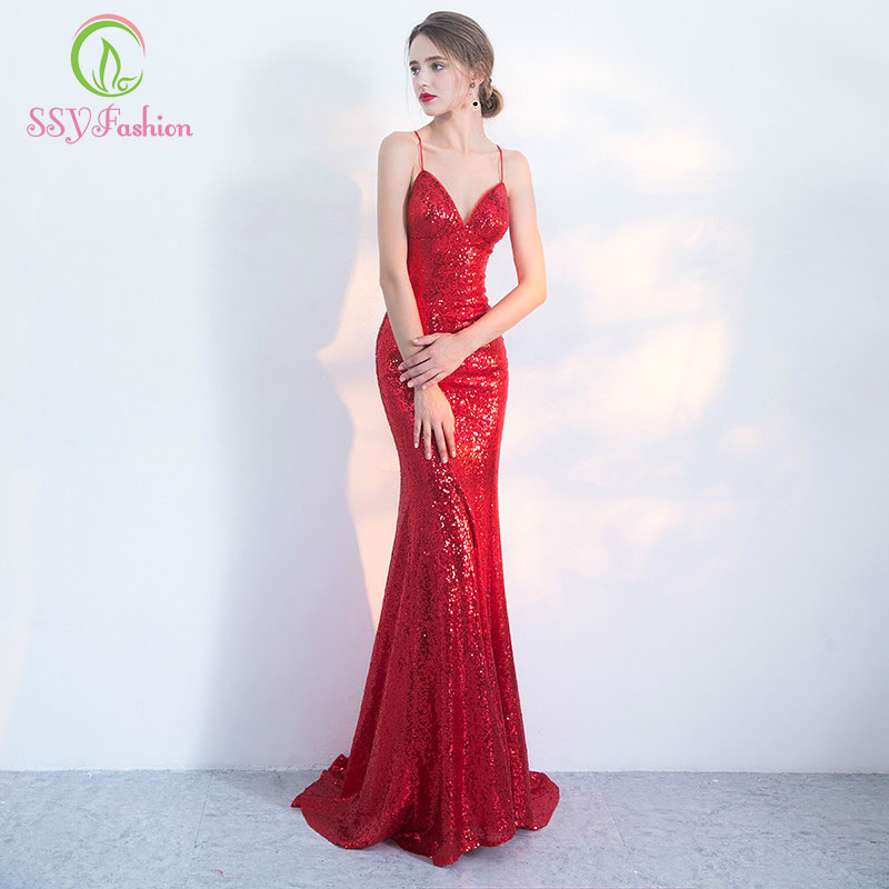 898d2e25e2 SSYFashion Robe De Soiree 2017 Sexy Syrenka Suknia Czerwone Cekiny  Spaghetti Strap Backless Slim Długi Party Prom Dresses w SSYFashion Robe De  Soiree 2017 ...