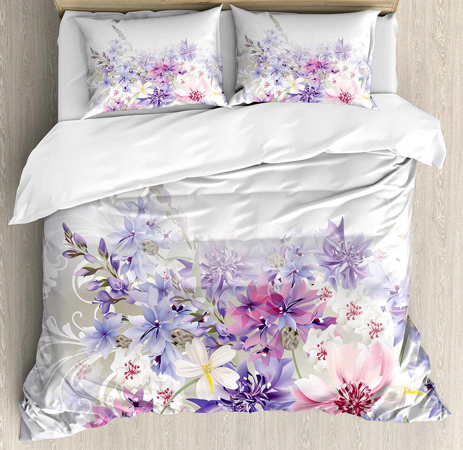 Lavender duvet cover set pastel cornflowers bridal classic design gentle floral wedding decor print 4 piece bedding set in bedding sets from home garden