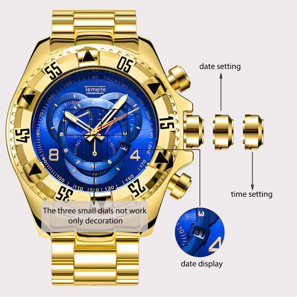 b5d7b47b179b ... Temeite grande para hombre dial relojes de oro de lujo azul 316L hombre  Acero inoxidable pulsera ...