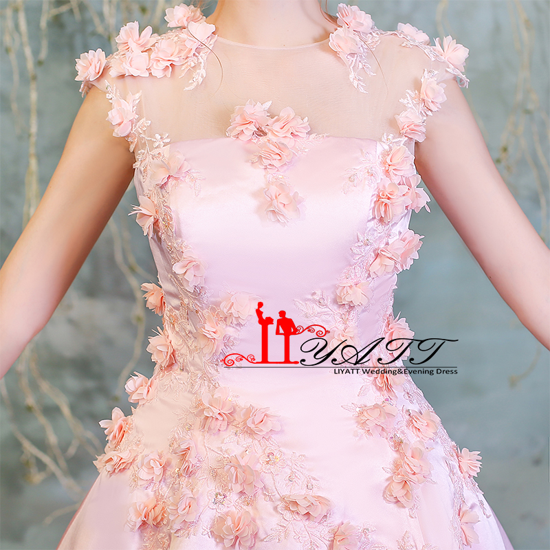 Vintage Pink Tea Length Prom Dresses 2018 3D Floral Flower Satin ...