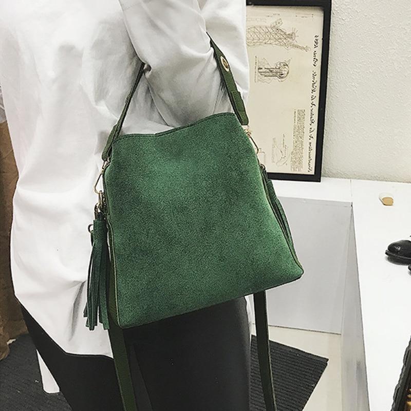 Shop Fashion Scrub Women Bucket Bag Vintage Tassel Messenger Bag High Quality Retro Shoulder Bag Simple Crossbody Bag Tote