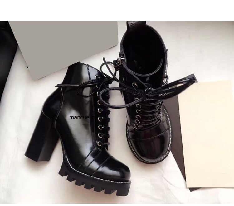 Chic Black PU Leather Block High Heels Platform Short Boots Fashion Women Round Toe Chunky Heel Lace Up Ankle Boots Hot Selling цена