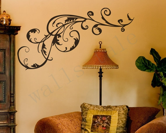 Free Shipping Decorative Vinyl Flower Swirl Wall Art Decal Stickers, Swirl Art  Wall Decor ,