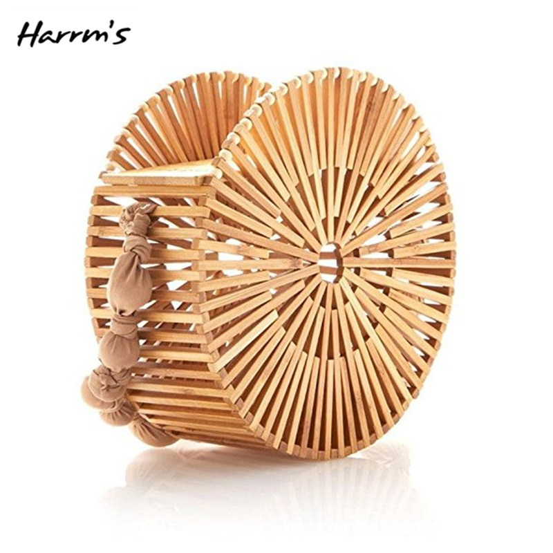 2018 Creative Fashion Women Handbag Hollow Out Woven Bamboo Bag Straw Wood Shoulder Bags Summer Beach Travel Handmade Bags Gift fabric bags shoulder straw summer of women fabric crossbody bags canvas jute beach travel bag