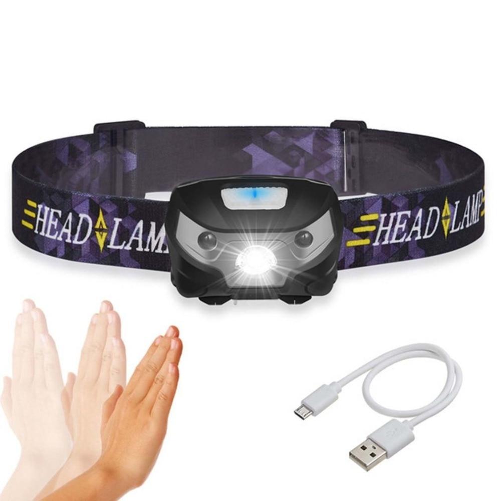 Mini LED Headlamp Smart Sensor Cycling Headlight USB Charging Waterproof LED Red Infrared Head Light For Outdoor Hiking