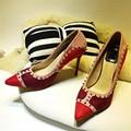 2017 Moda Zapatos Mujer Rivet Thin Tacones Altos Resbalón de los Zapatos de Las Mujeres Bombean Los Zapatos de Vestido de Boda Zapatos de tacón de Aguja Mujer de San Valentín