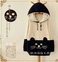 Nhật bản mori girl kawaii phụ nữ hoodie cat mặt với dễ thương ear áo sweatshirt phim hoạt hình moew neko atsume hoodies của phụ nữ clothing