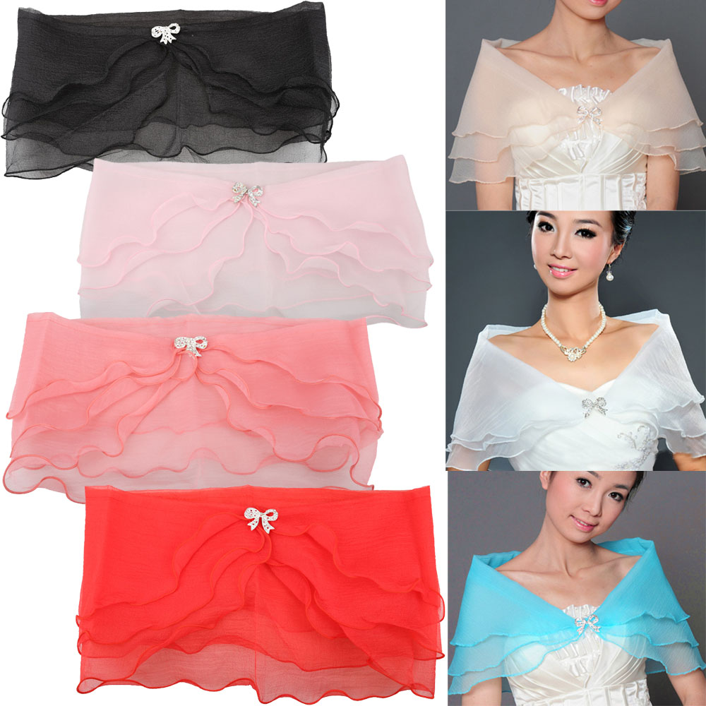 Wedding Party Cocktail Bridal Seersucker Gauze Shawl Shrug Bolero Coat Lady Party Cocktail Organza Wrap LXH