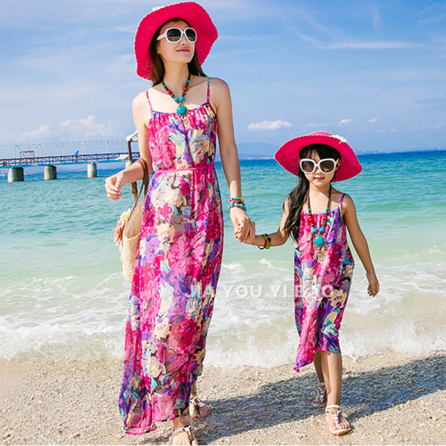 Mother Daughter Attire 2018 Summer Pa Child Bohemia Beach Vest Dress For Holiday Family