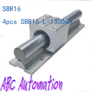 ФОТО Free shipping to Russia for 4pcs SBR16 L-1300mm  linear round rail without SBR16UU slide block