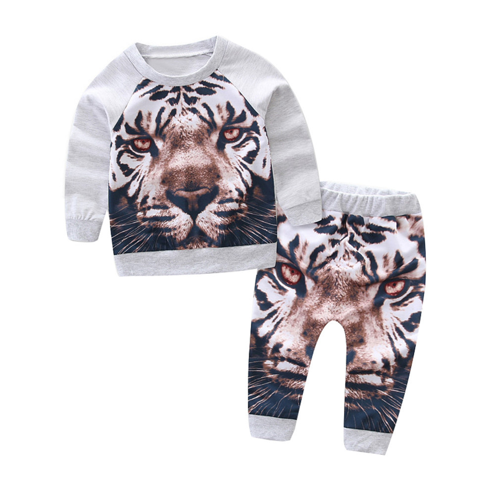 Boys Clothing Set Newborn BaBy Boy Clothes Infant Kids Clothes Tiger Tshirt Pullover Top+ Pants 2PCS Children Suit Clothing Set