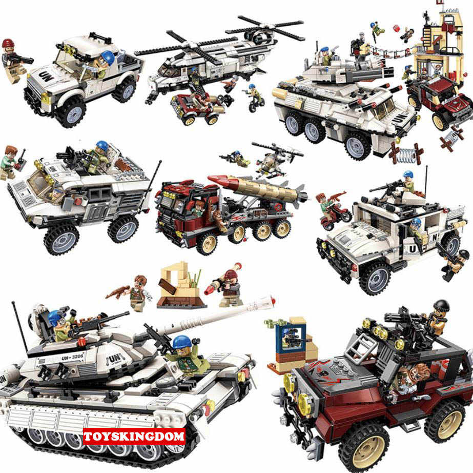 Modern Anti terrorist Thunder mission batisbricks figure block army minifigs helicopter tank jeep hummer Missile Armored car toy