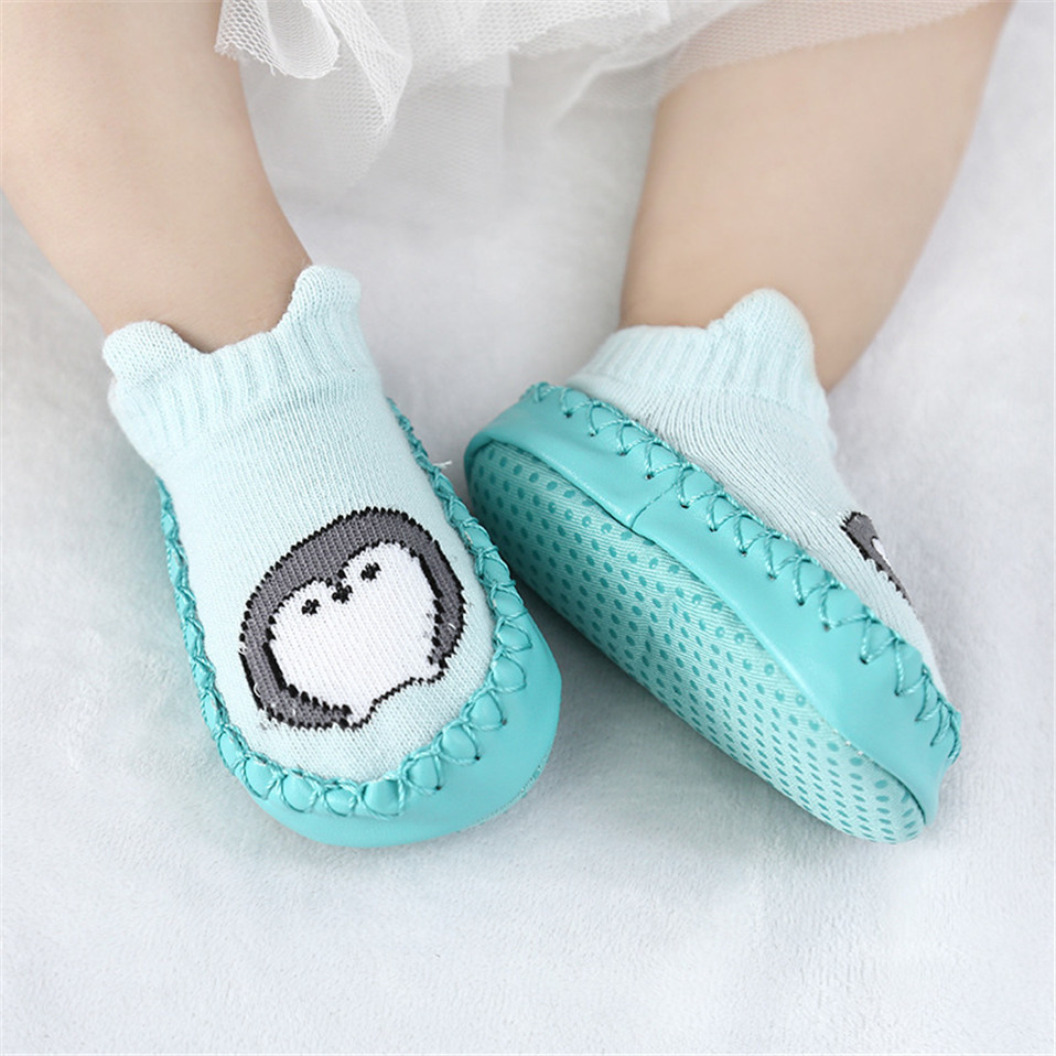 Baby Newborn Cartoon Socks Soft Bottom Anti Slip Floor Rubber Soles PU Leather Toddler Girl Boy Infant Baby Sokken Chaussette