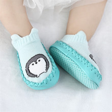 цены на Baby Newborn Cartoon Socks Soft Bottom Anti Slip Floor Rubber Soles PU Leather Toddler Girl Boy Infant Baby Sokken Chaussette  в интернет-магазинах