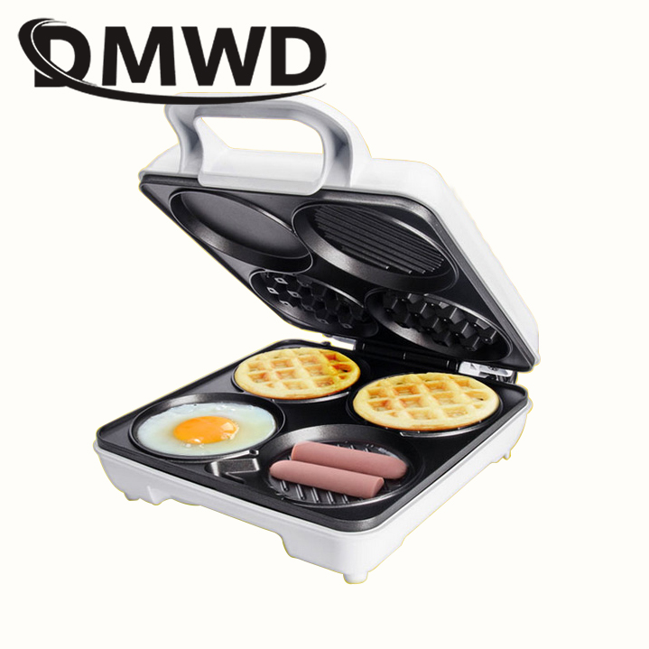 DMWD Electric Waffle Maker Muffin Dorayaki Cake Breakfast Baking Machine Fried Egg Grill Sandwich Toaster Hamburger Oven EU Plug цены