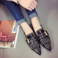 SUOJIALUN Women Casual Flat Rivet Pointed Toe Shoes Slip On PU Leather Flats Zapatillas Mujer Shoes