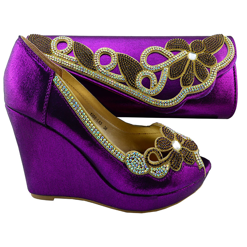 ФОТО purple Hottest Style Italian Shoes And Bags African Women Shoes High Heels and Bags Set For Wedding  HYX1-10