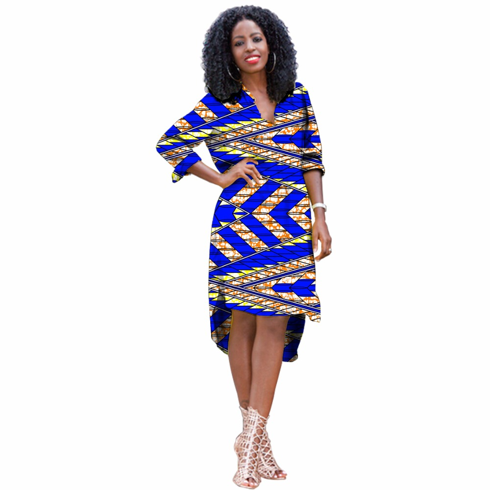9f68f5d4e8f Elegant women african print pullover long shirt stand collar ladies half  sleeve dashiki dress africa clothing