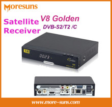Free ship by DHL 5pcs/lot 2016 NEW Satellite Receiver Openbox V8 Gloden DVB-S2/T2 /C HD support power vu