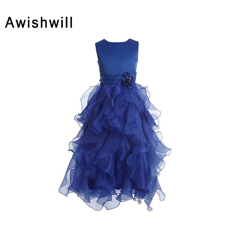 Newest Sleeveless Ankle Length   Flower     Girl     Dresses   for Weddings Pageant Party Birthday Communion   Dresses   for   Girls   Evening Gown