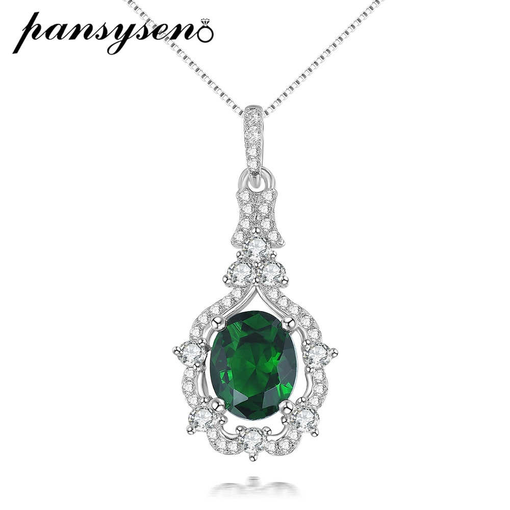 PANSYSEN 100% Real 925 Sterling Silver Emerald Gemstone Pendant Necklace For Women Gold Color Religious Jewelry Necklace Gifts