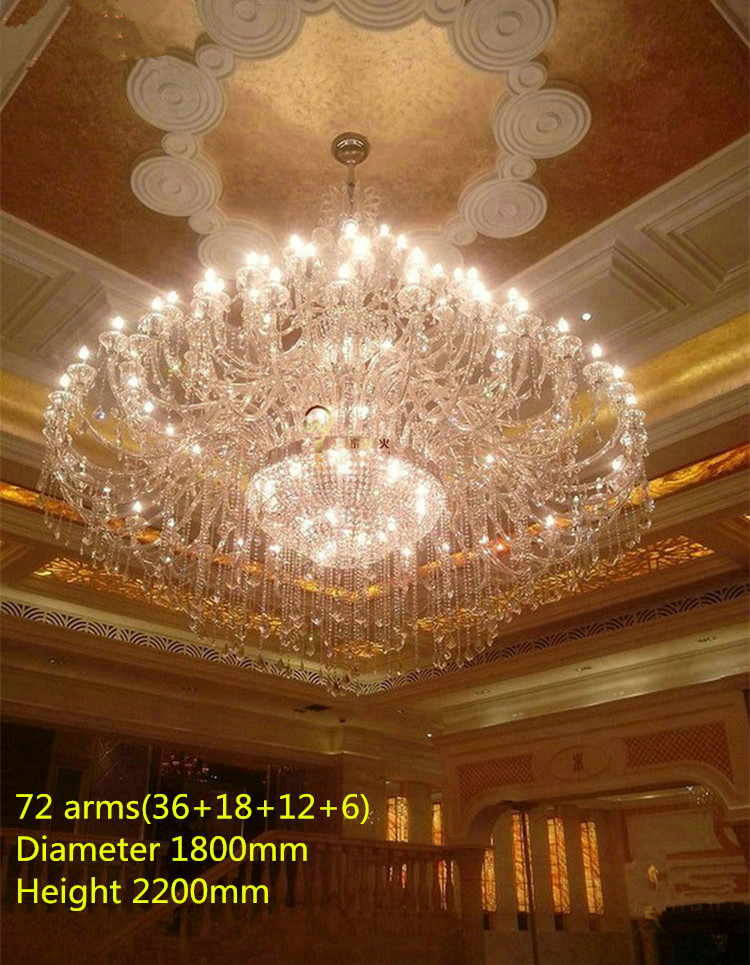 Church 55-72 lights large Transparent Crystal chandelier light hotel Palace E14/E12 Led lustre Modern crystal Lamp Chandeliers