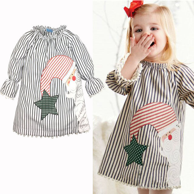 New Christmas Santa Claus Kids Baby Girls Clothes Tops Tutu Blouse Long Sleeve Casual Princess Clothes
