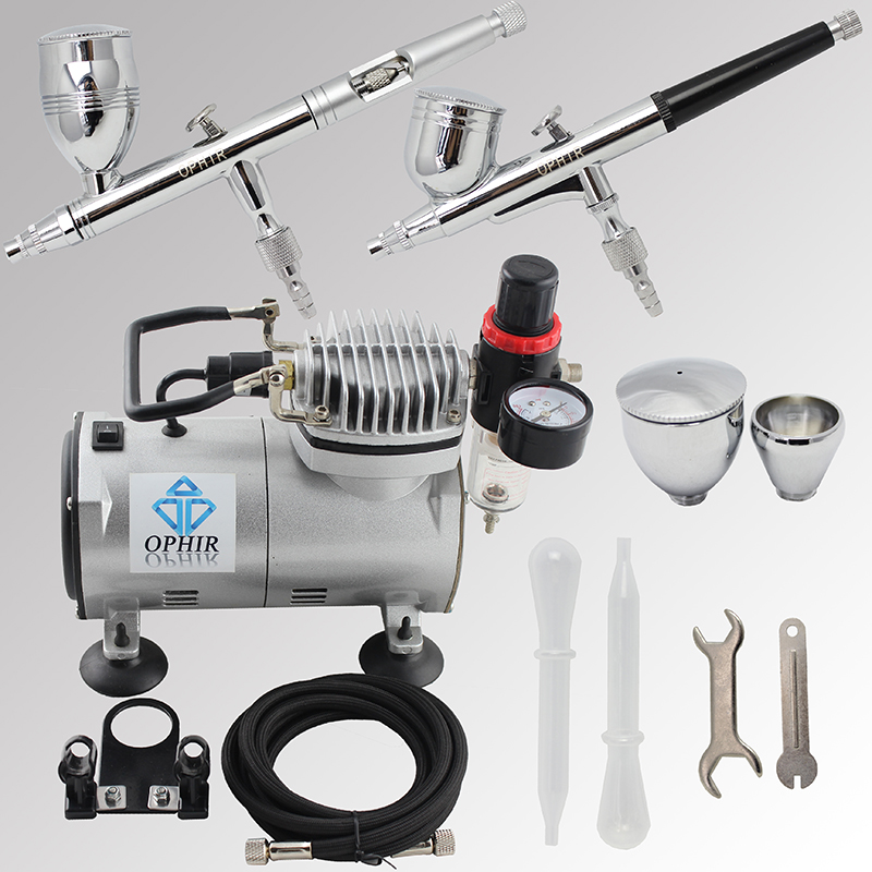 OPHIR Pro 2 Dual-Action Airbrush Kit with Air Compressor for Model Hobby Paint Car Paint Airbrush Compressor Set_AC089+004+006 ophir pro 2x dual action airbrush kit