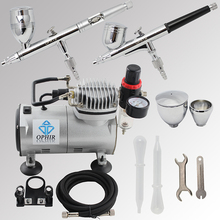 OPHIR Pro 2 Dual-Action Airbrush Kit with Air Compressor for Model Hobby Paint Car Paint Airbrush Compressor Set_AC089+004+006