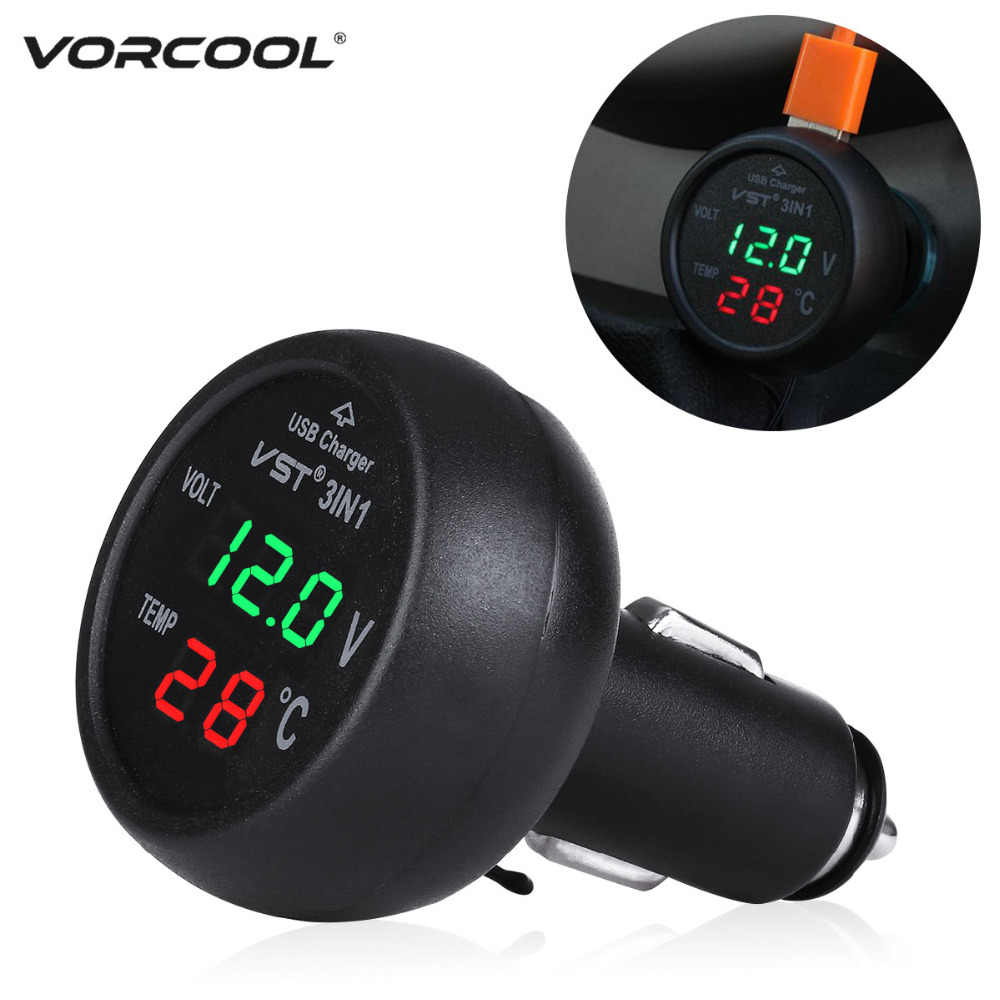 VORCOOL 12-24V Car Cigarette Lighter Socket Adapter with USB Port Voltmeter Thermometer Car Charger for Car Truck RV