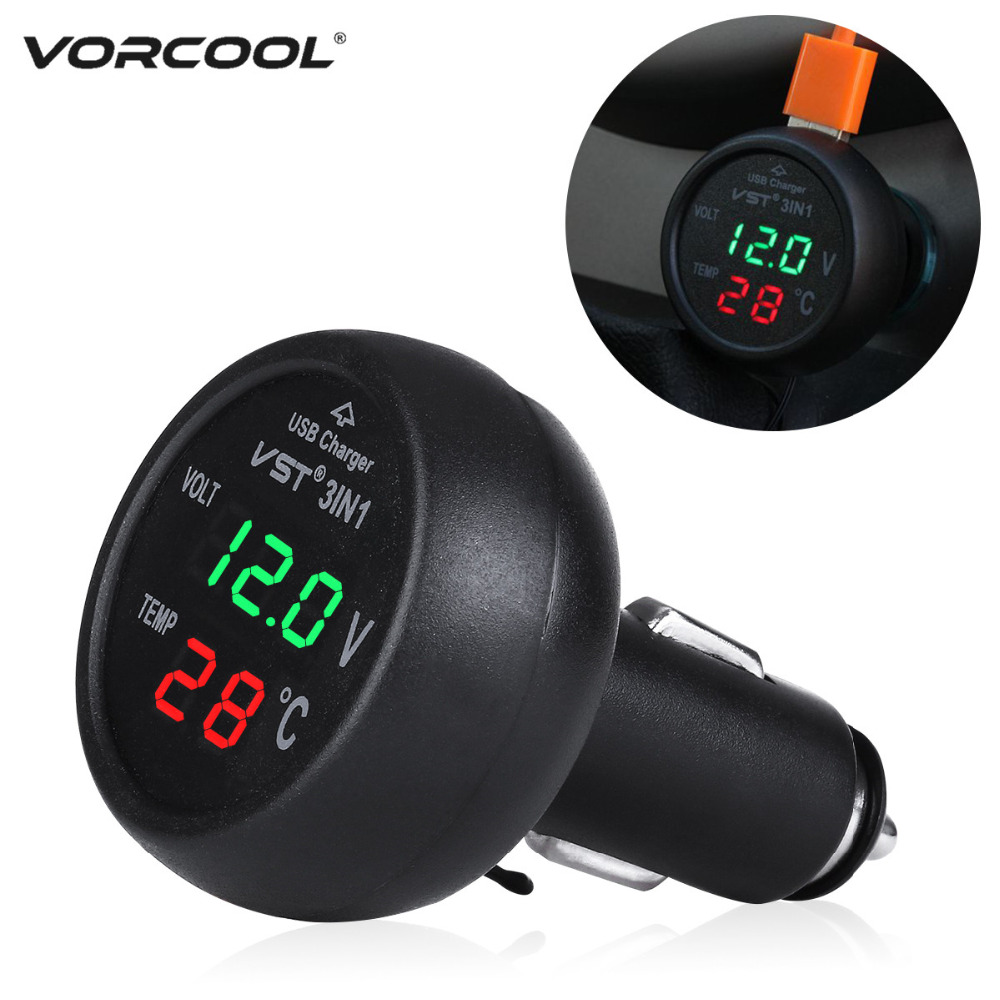 VORCOOL 12-24V Car Cigarette Lighter Socket with USB Port Voltmeter Thermometer for Car Truck (Green+Red) аксессуар чехол lenovo a516 it baggage black itlna516q 1