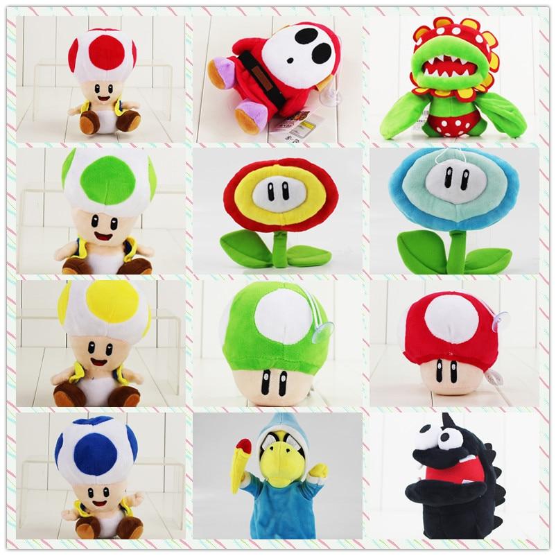 9-36cm Super Mario Bros Plush Cartoon Doll Toys Luigi Magic Koopa Turtles Chorodon Shy Guy Petey Piranha Corpse Ice Sun Flower