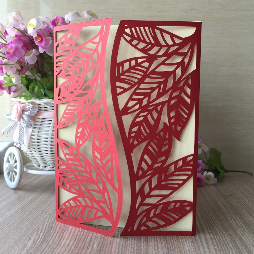 Peach / Pink / Chines Red Laser Cut Wedding Invitation Cards 2018 ...