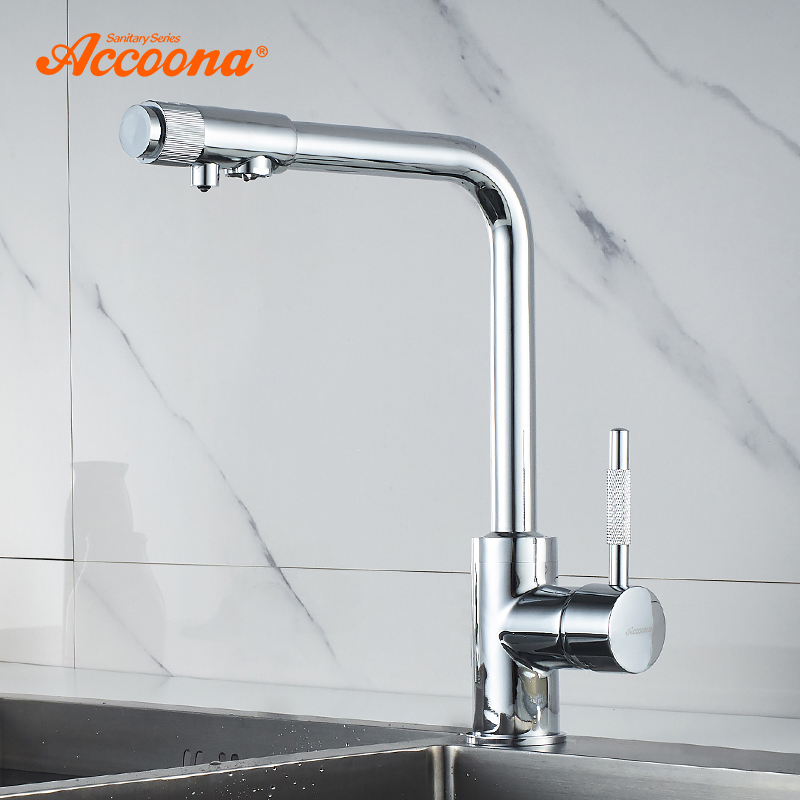 Accoona Filter Kitchen Faucet Solid Brass Water Tap Kitchen Sink Faucets Single Lever Drinking Water Mixer Tap Crane A5179-3