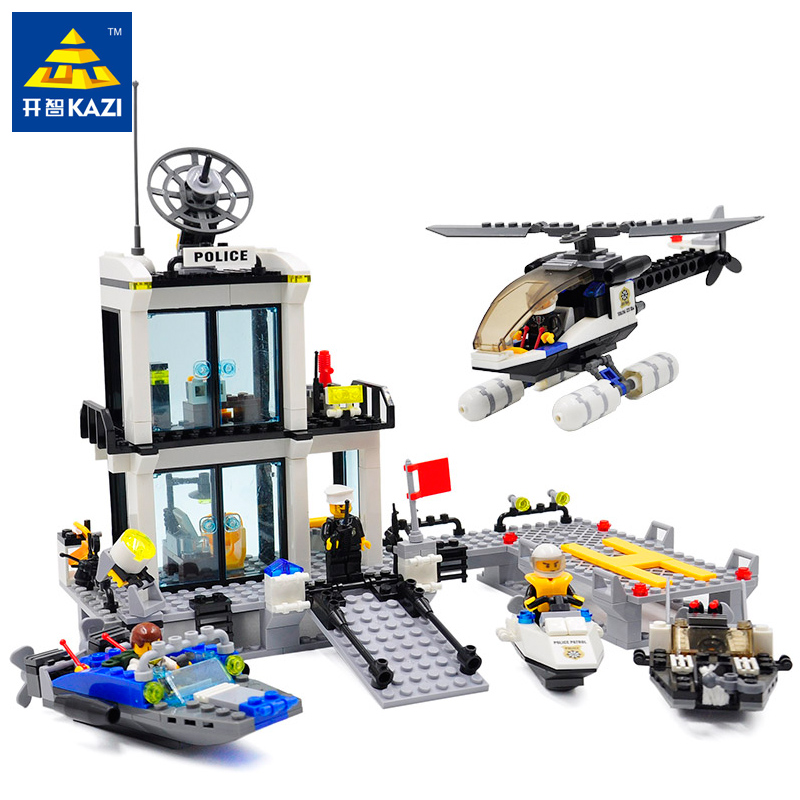 Kazi 536pcs Police Station Legoingly Sets Building Blocks Model Helicopter Speedboat Educational DIY Bricks Toys For Children 111pcs children blocks toys police series helicopter blocks toys assembled model building kits educational diy toys for kids