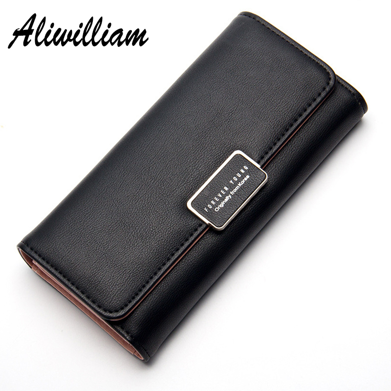 aliwilliam flaship Store Aliwilliam Cute Leather Long Wallets Women 2017 Business Card Holder Female Clutch Coin Purse Candy Hasp Wallet Ladies Money Bag