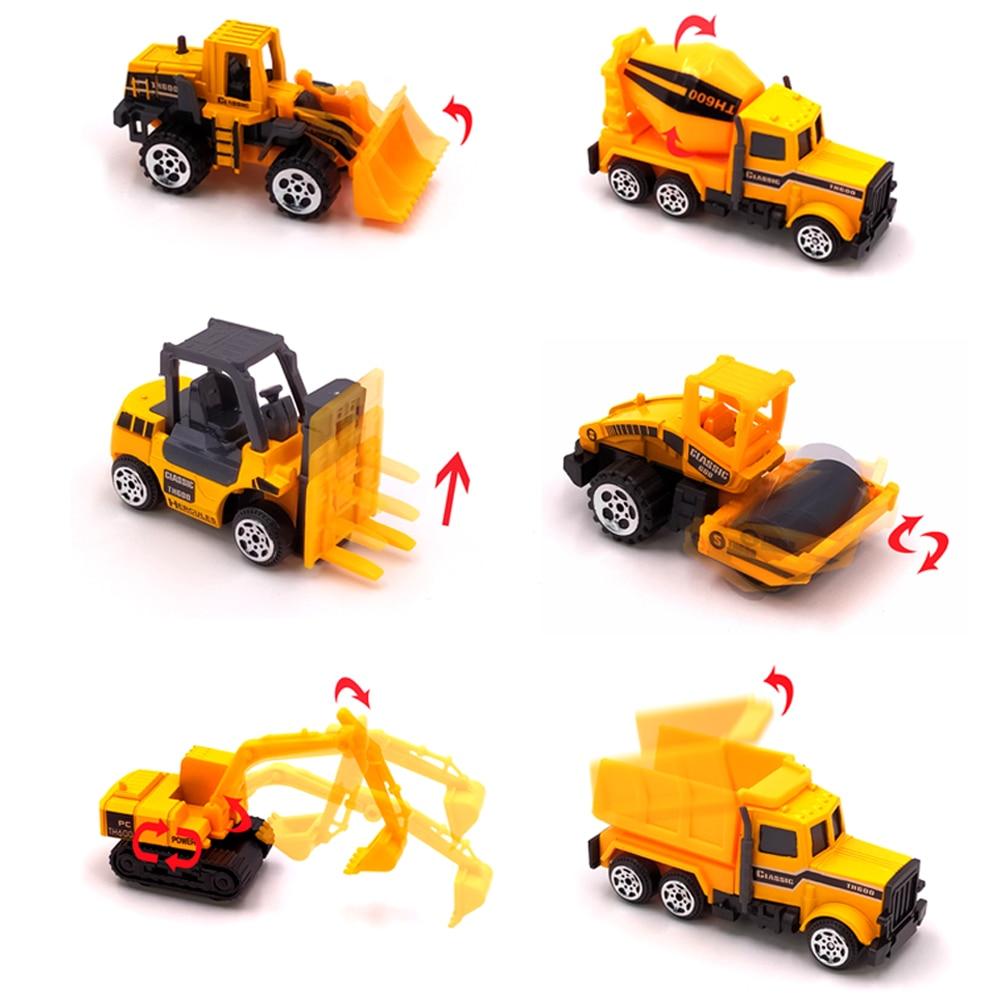 Mini Alloy Diecast Engineering Toy Vehicle 1:64 Metal Car Set Dump Truck Forklift Excavator Mixer Tractor Toys Children Gift