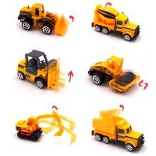 купить Mini Alloy Diecast Engineering Toy Vehicle 1:64 Metal Car Set Dump Truck Forklift Excavator Mixer Tractor Toys Children Gift дешево