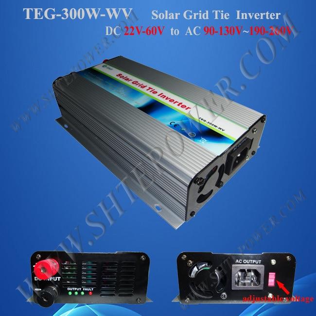 300W ON GRID TIE INVERTER, DC 22-60V to  AC 90-130v &190-240v for solar panels tie grid inverter 300w for solar panel with mppt function dc 22 60v input to ac output two different voltage 90 130v 190 260v