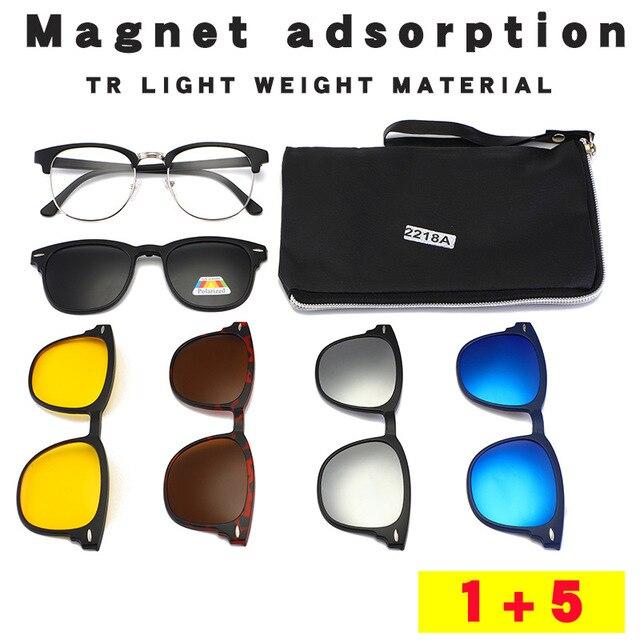 UVLAIK 패션 옵티컬 스펙터클 프레임 남성 여성 선글라스에 5 클립 클리어 안경 남성용 편광 안경