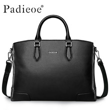 Padieoe 2016 New Fashional Men's Business Briefcase Fashion Men's Genuine Leather Bag Real Cow Leather Laptop Bag for Men