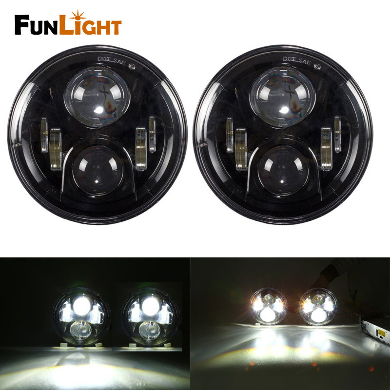 7 Inch Round Led Headlight Hi/Lo Beam for Jeep Wrangler JK TJ LJ CJ Willys Wheeler Rubicon Sahara Freedom Edition Sport Islander high power 7inch round led headlight for jeep wrangler jk tj lj cj willys wheeler unlimited rubicon hummer land rover defender