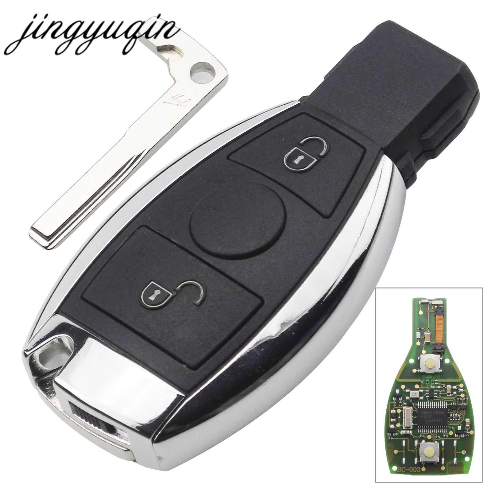 jingyuqin BGA Style 2 Buttons Keyless Entry Remote Car Key 433MHz for MB Mercedes for BENZ E S After 2000 Key Fob Replacementjingyuqin BGA Style 2 Buttons Keyless Entry Remote Car Key 433MHz for MB Mercedes for BENZ E S After 2000 Key Fob Replacement