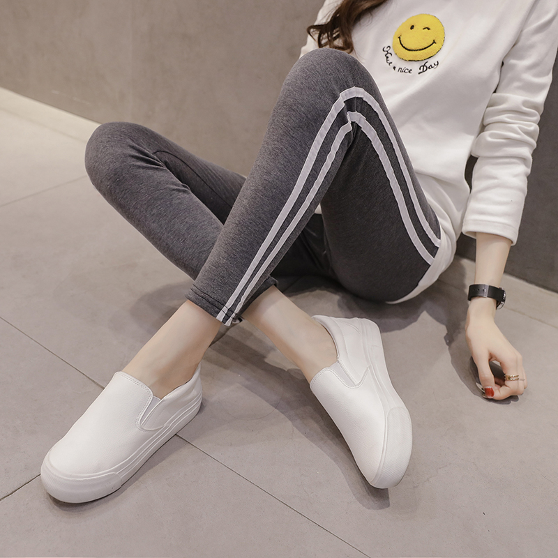Autumn and winter pregnant women new leggings pregnant women small feet pants vertical stripes bottoming pants pants pants