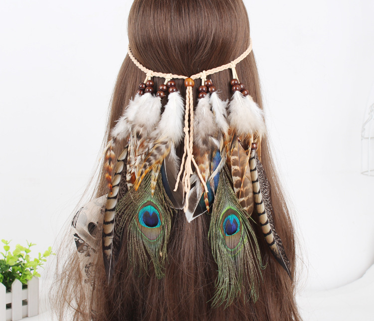 F67 feather headband The gypsy Indian hippie Bohemian feather Ms hair band Hairwear 5pcs ...
