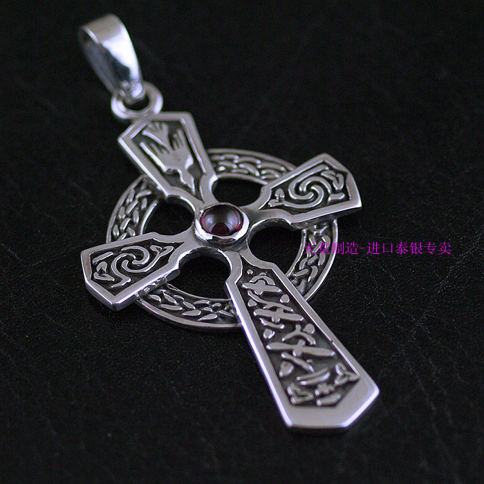 Thailand imports retro 925 Sterling Silver Cross Pendant akg y50 red