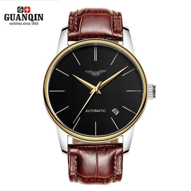 Luxury Watch Men Brand GUANQIN Ultra-thin Mechanical Automatic Watch Mens Watches Leather Watchbands reloj hombre automatico guanqin gj16056 watch women luxury brand japan miyota mechanical watch leather automatic ultra thin watch female watch couple
