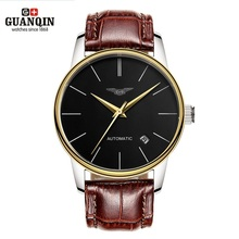 Luxury Watch Men Brand GUANQIN Ultra-thin Mechanical Automatic Watch Mens Watches Leather Watchbands reloj hombre automatico