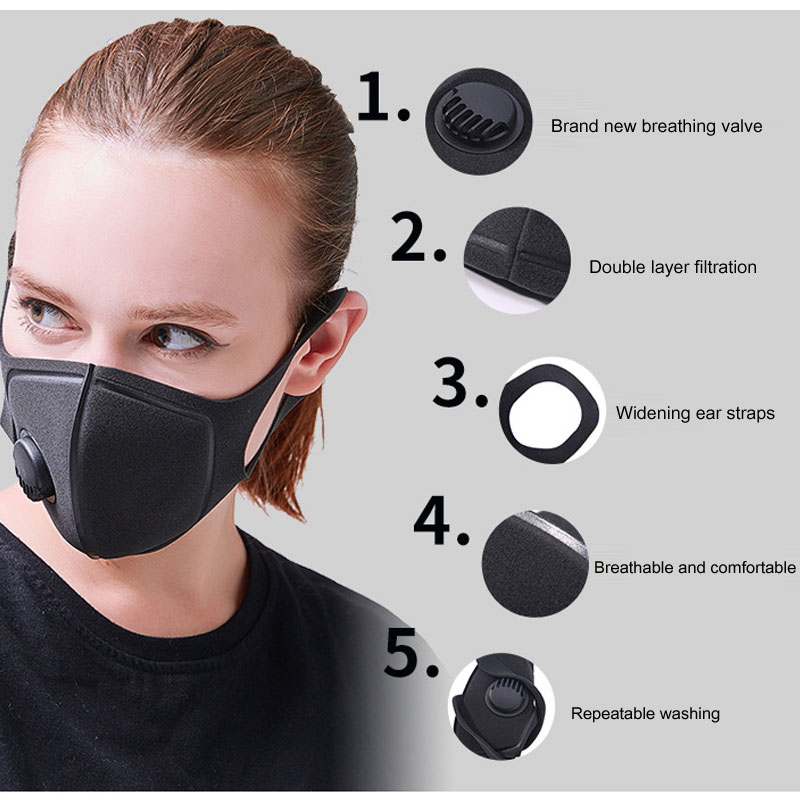 Dust Mask  Sponge Polyurethane Mask Double Thickness Breathing Valve Unisex Dustproof Prevention Antiseptic Ventilation KN91